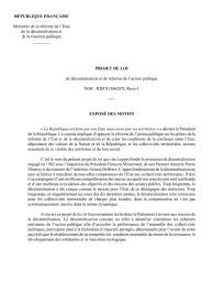 Projet de loi décentralisation : version finalisée du 6 mars 2013
